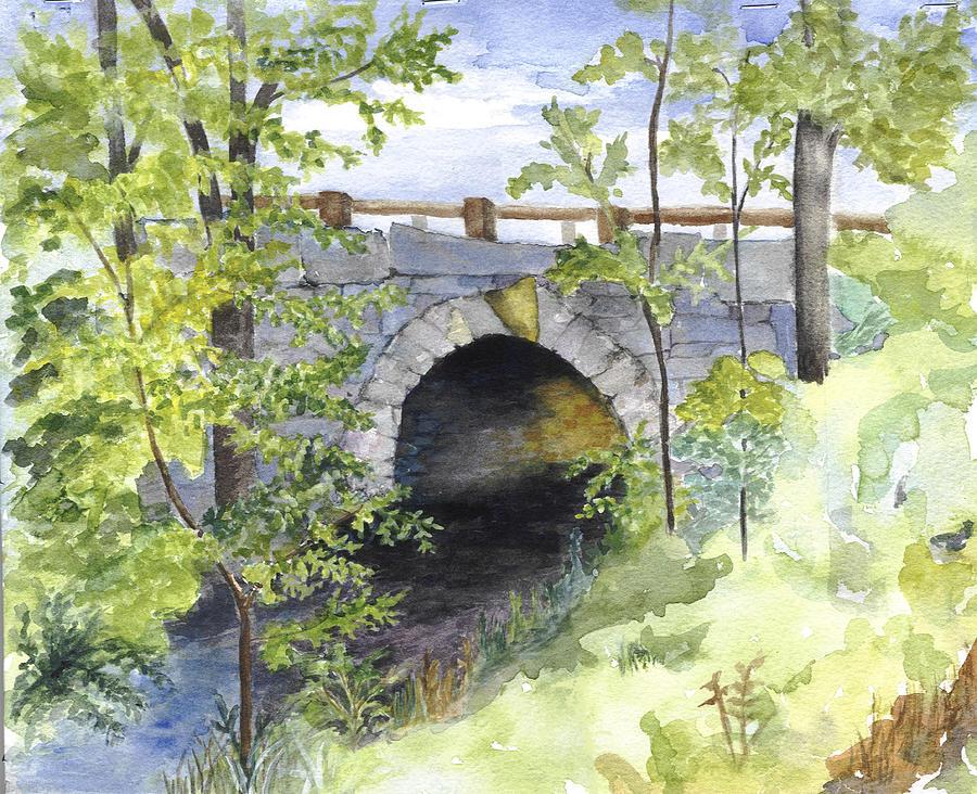 Water Painting - Keystone Bridge On Pemaquid River by Peggy Bergey