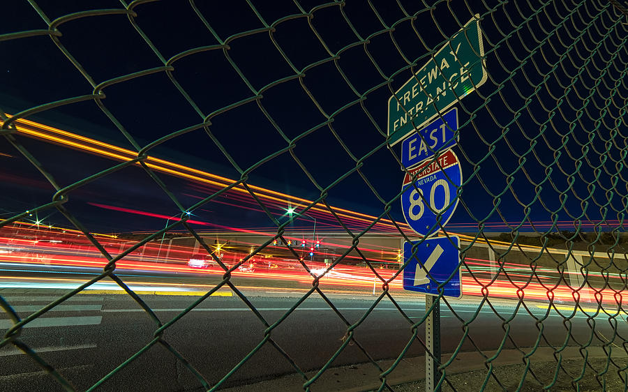 Keystone Grit With Long Sweeping Light Trails On A Summer Night In Reno, Nevada Photograph