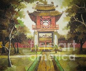 Hand-made Painting - Khue Van Cac The Gate Of The First University Of Vietnam Since Early 19th Century by Tran Thu Thuy