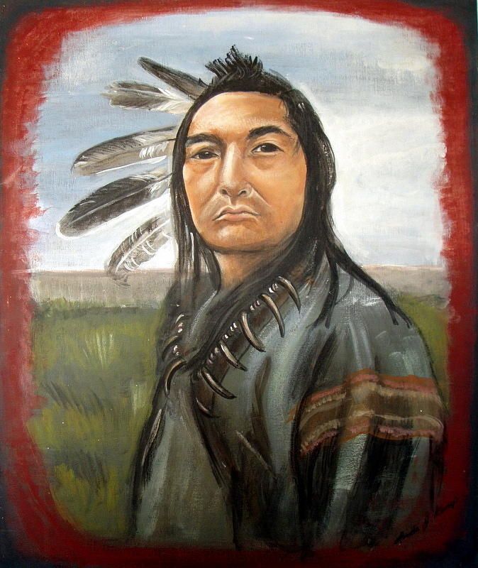 Indian Painting - Kicking Bird by Linda Nielsen