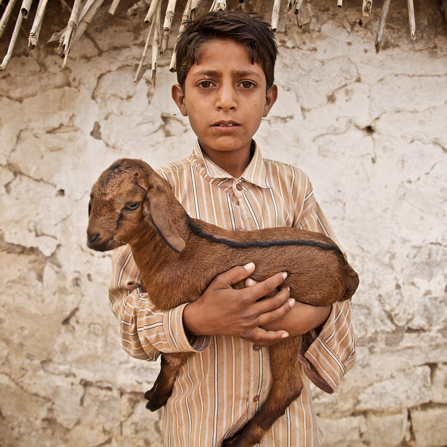 kid with goat by Lucas Dragone