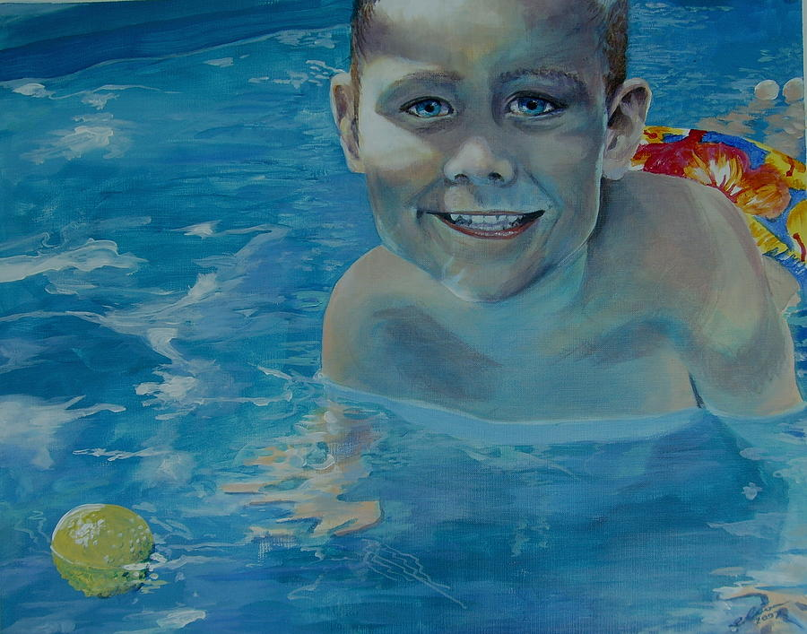 Water Painting - kiddie pool II by Elisa Davis