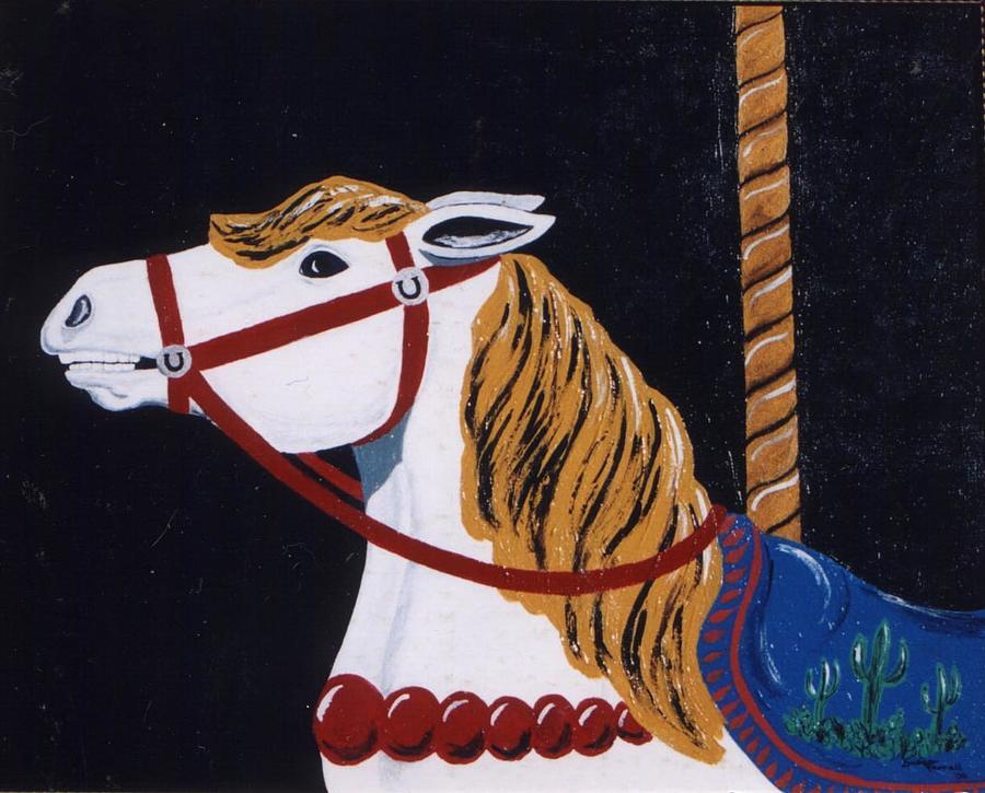 Carousel Horse Painting - Kiddieland Memories by Susan Ferrell