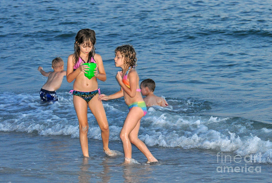 Kids Photograph - Kids At The Beach by Rose  Hill