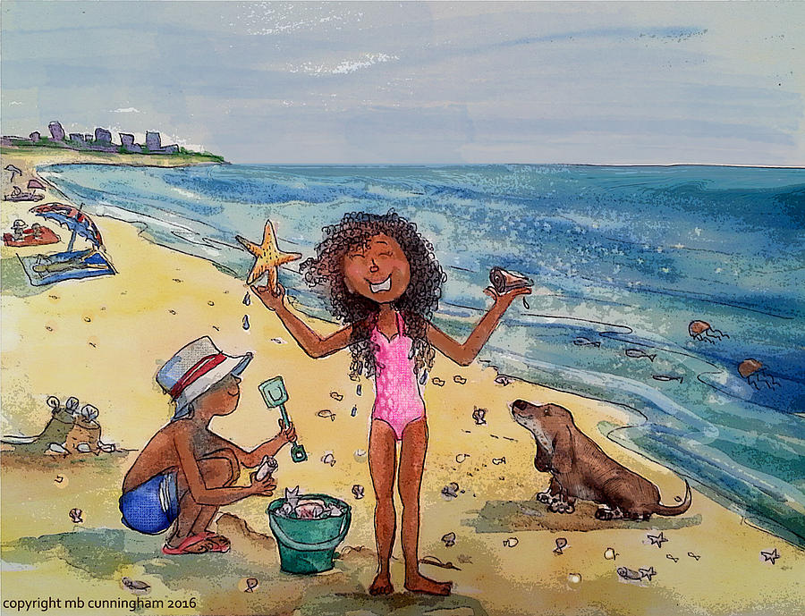 Kids Collecting Shells On Sanibel Beach Watercolor Painting By
