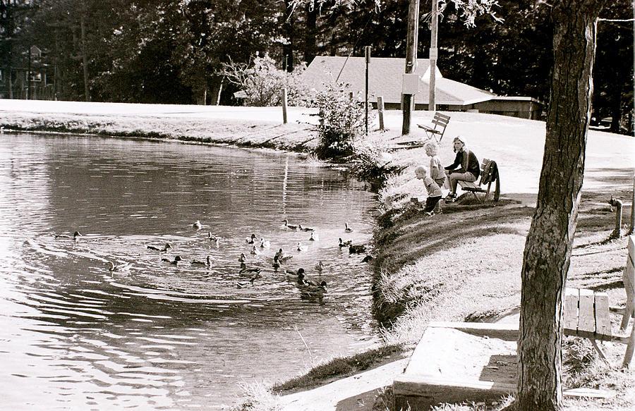 Ducks Photograph - Kids N Ducks by Jeff Porter