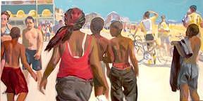 Beach Painting - Kids On The Beach by Merle Keller