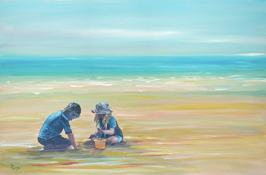 Kids Playing On The Beach Painting By Tut Blumental