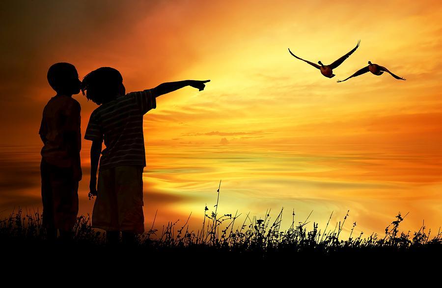 Bond Photograph - Kids Slihouette by Jeff S PhotoArt