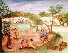Artist Painting - Kidz At Play by Betty Abrams