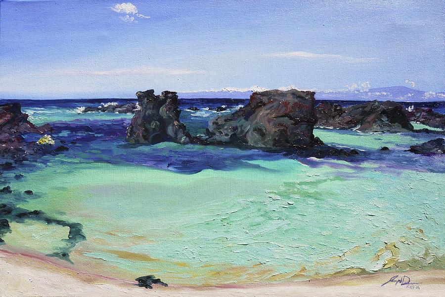 Point Painting - Kikaua Point Beach by Joseph Demaree