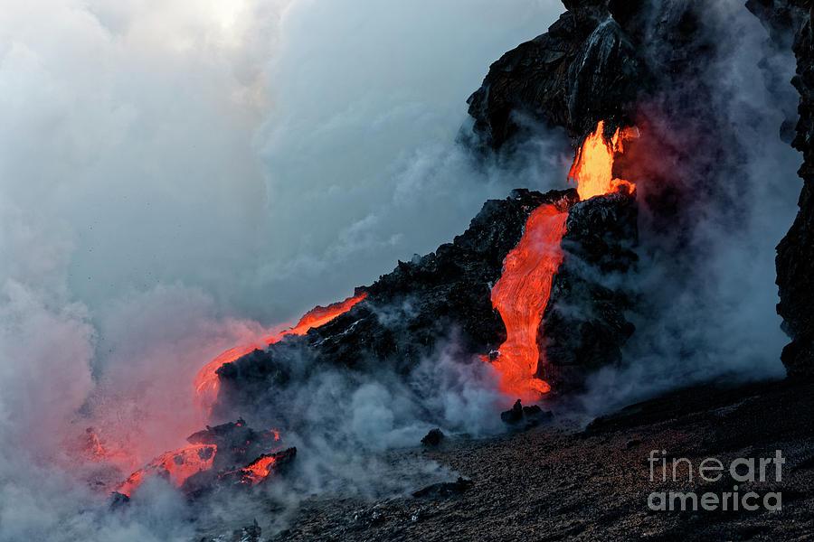 Kilauea Lava Flow entering the Pacific by James L Davidson