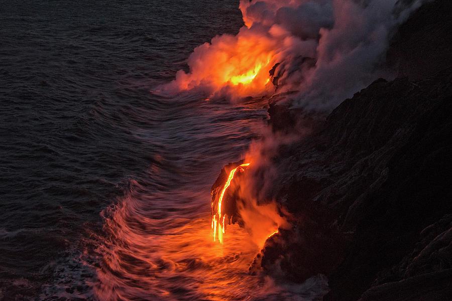 Lava Flow Photograph - Kilauea Volcano Lava Flow Sea Entry - The Big Island Hawaii by Brian Harig