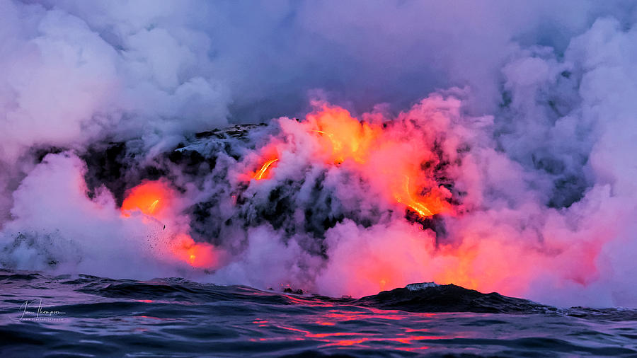 Hawaii Photograph - Lava Flowing Into the Ocean 9 by Jim Thompson