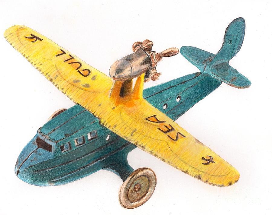 Drawing Drawing - Kilgore Sea Gull Airplane by Glenda Zuckerman
