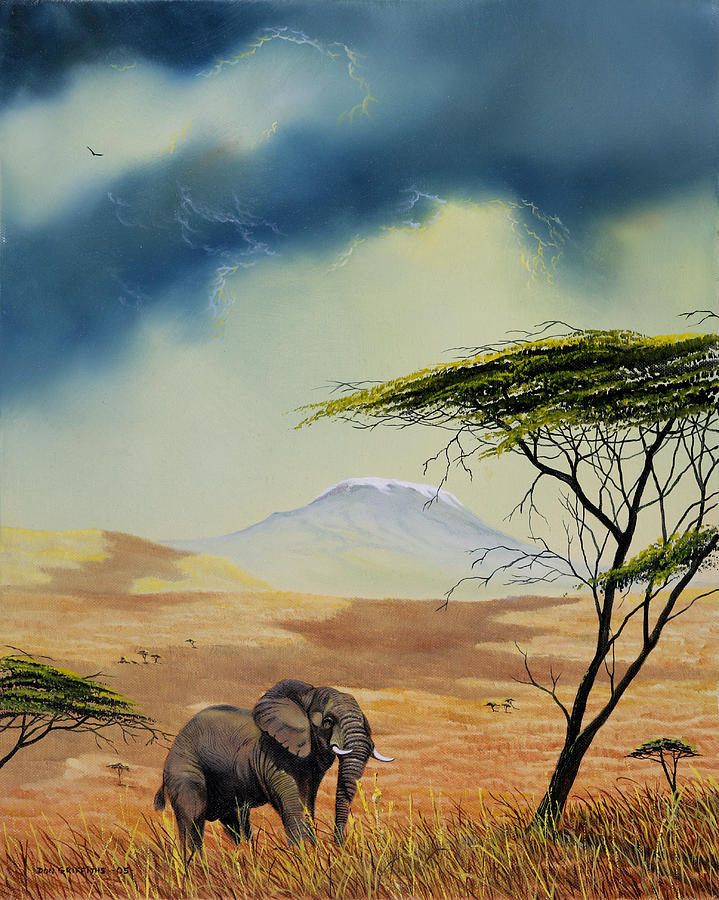 Landscape Painting - Kilimanjaro Bull by Don Griffiths