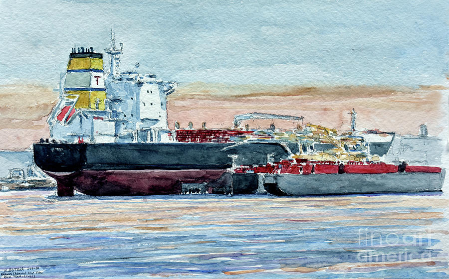 Tanker Painting - Kill Van Kull, Bayonne by Anthony Butera