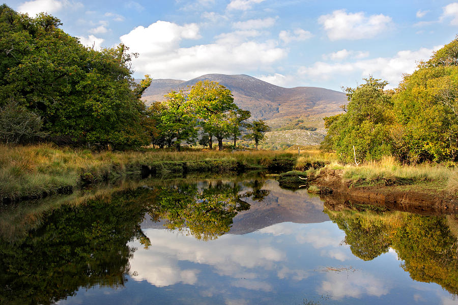 Killarney Photograph - Killarney Lake Reflection Ireland by Pierre Leclerc Photography