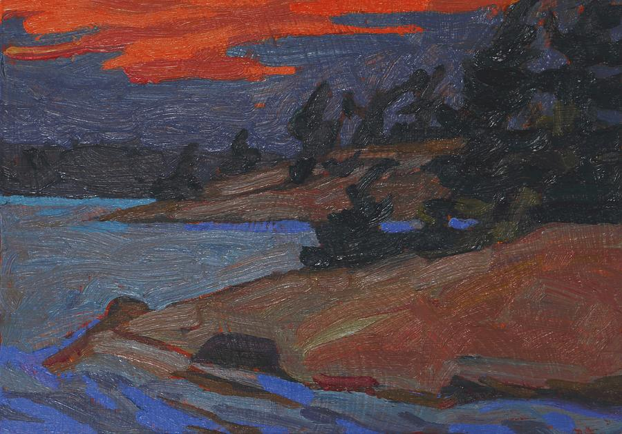 2002 Painting - Killbear Flagged Pines At Sunset by Phil Chadwick