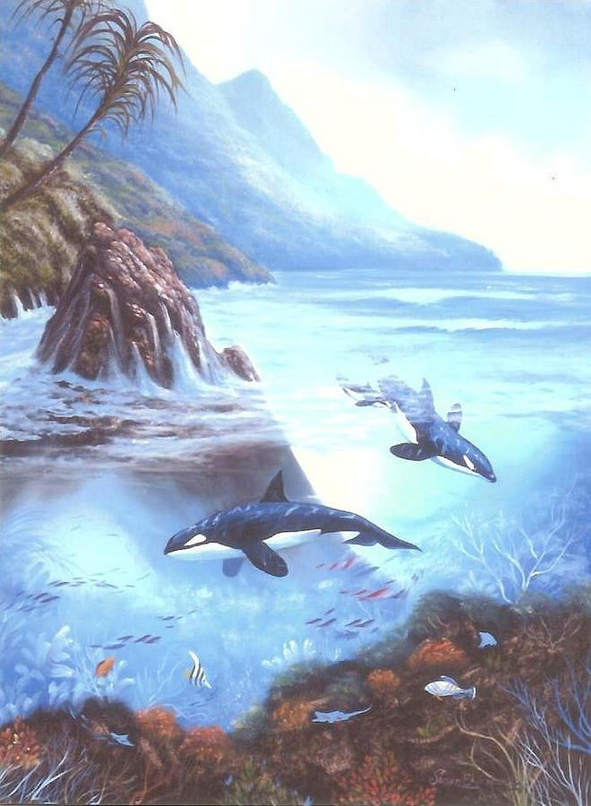 Orca Family Painting - Killer Whale Family by Susan Elizabeth Wolding
