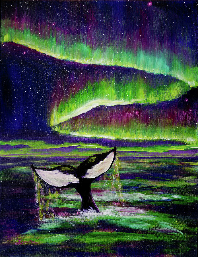 Killer Whale Tail in Aurora Borealis by Laura Iverson