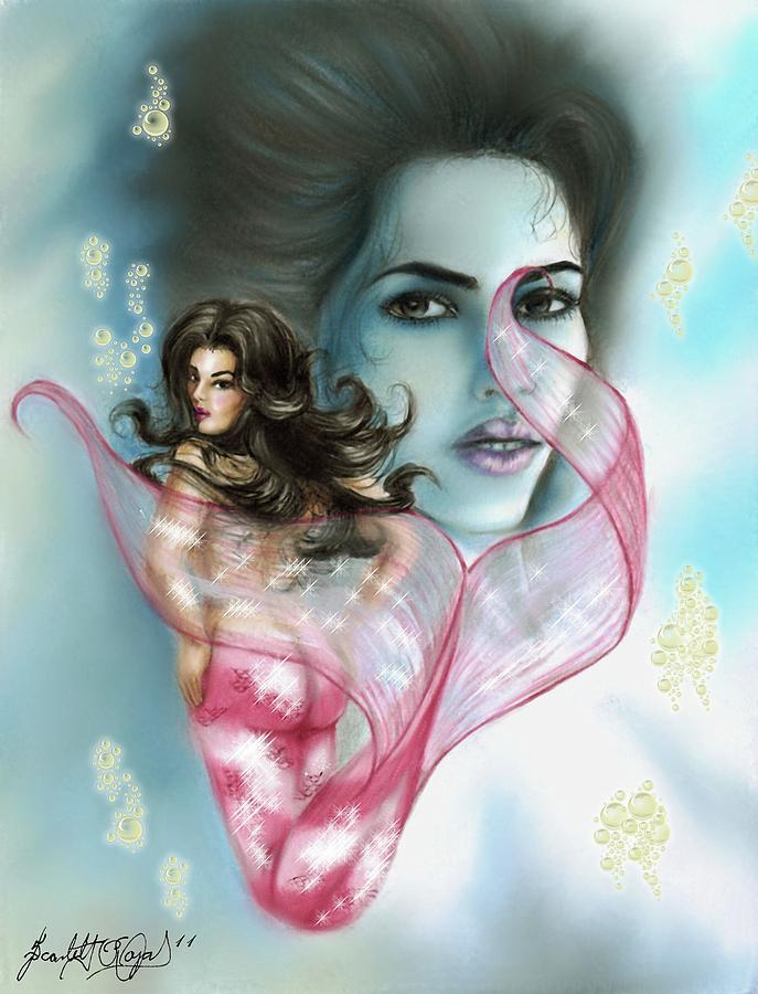 Mermaid Drawing - Kim The Mermaid by Scarlett Royal
