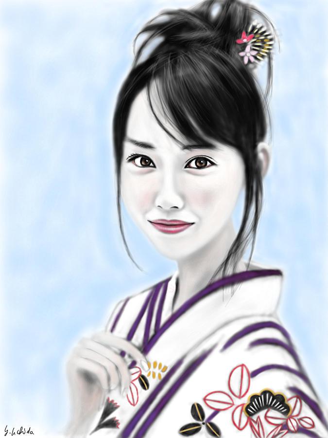 Ipad Painting - Kimono girl No.10 by Yoshiyuki Uchida