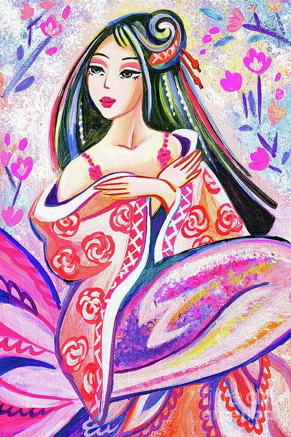Sea Goddess Painting - Kimono Mermaid by Eva Campbell