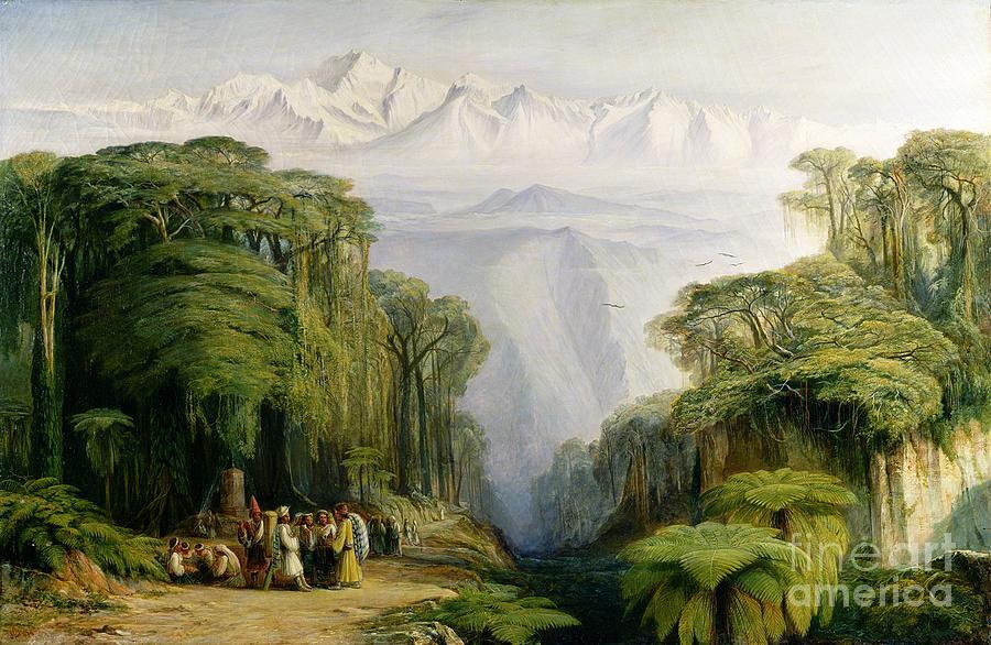 Kinchinjunga Painting - Kinchinjunga from Darjeeling by Edward Lear