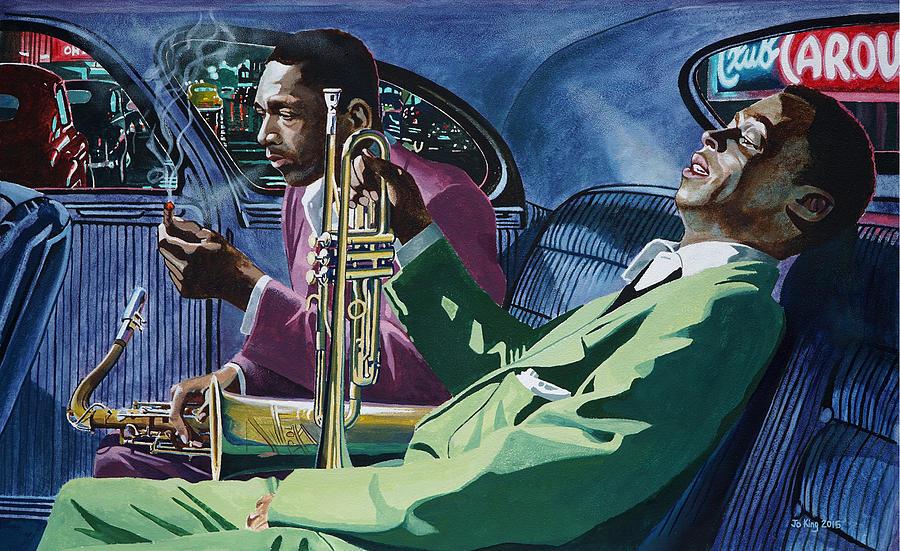 Miles Davis Painting - Kind Of Blue   - Miles Davis And John Coltrane by Jo King