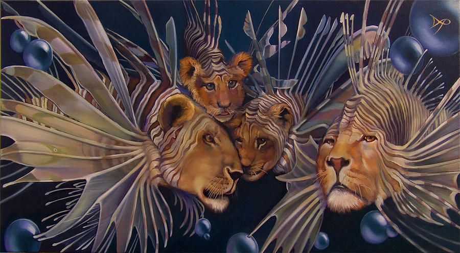Lion Painting - Kindred Lionfish by Patrick Anthony Pierson