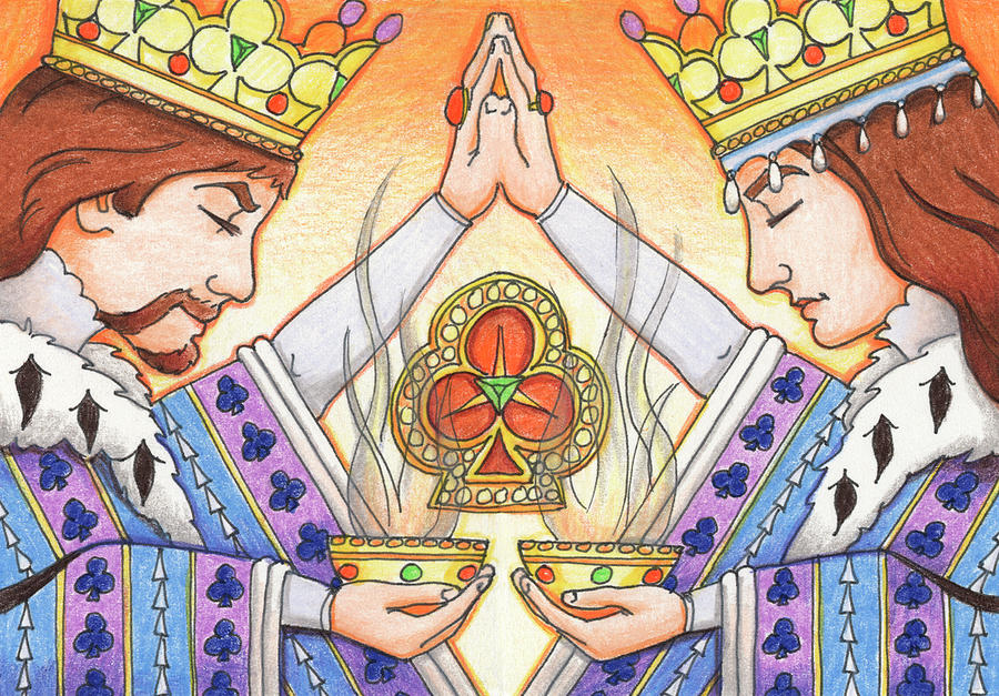 Monarchy Drawing - King And Queen Of Clubs by Amy S Turner