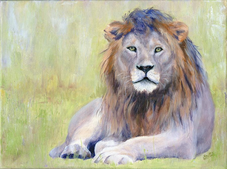 Lion Painting - King At Rest by Deborah Butts