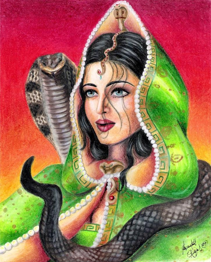 Woman Drawing - King Cobra by Scarlett Royal