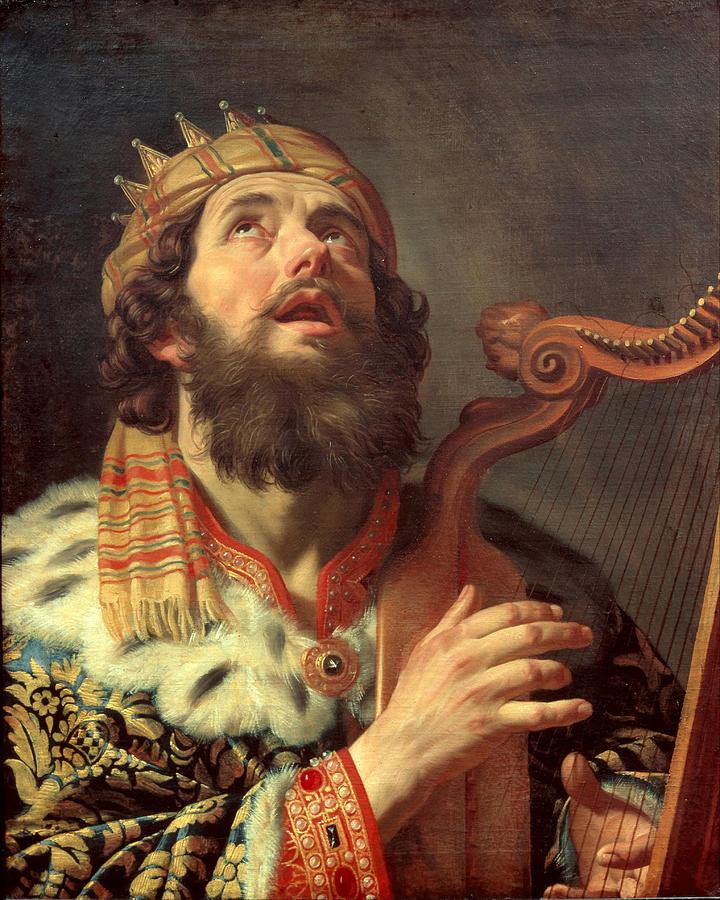 King David Playing The Harp Painting by Gerrit van Honthorst