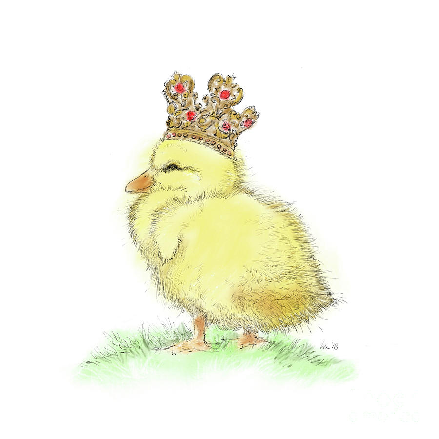 Duck Drawing - King Duckling by Laurie Musser