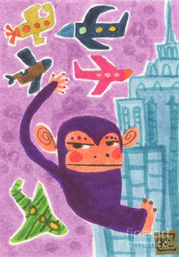 Monkey Painting - King Kong by Kate Cosgrove