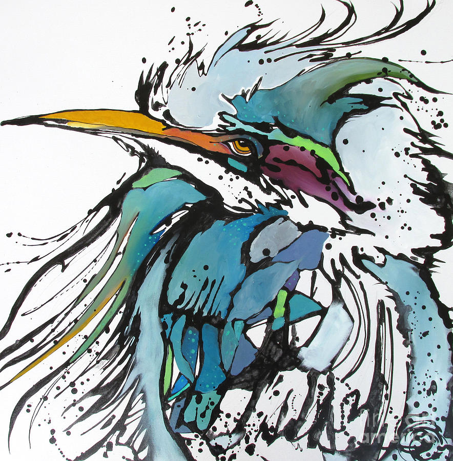 Blue Heron Painting - King by Nicole Gaitan