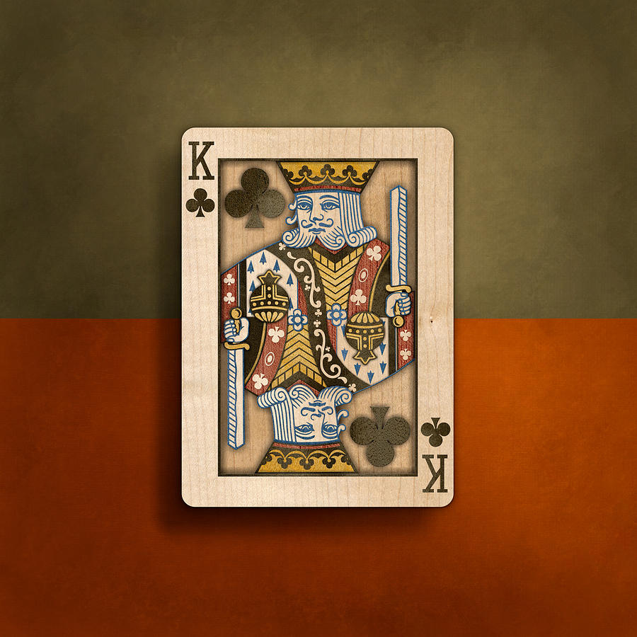 Game Photograph - King of Clubs in Wood by YoPedro