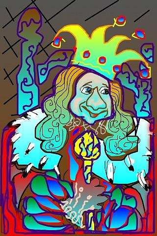 Royalty Greeting Card - King Of Fools by Rae Chichilnitsky