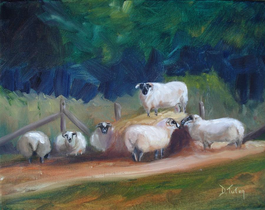 Sheep Painting - King Of Green Hill Farm by Donna Tuten