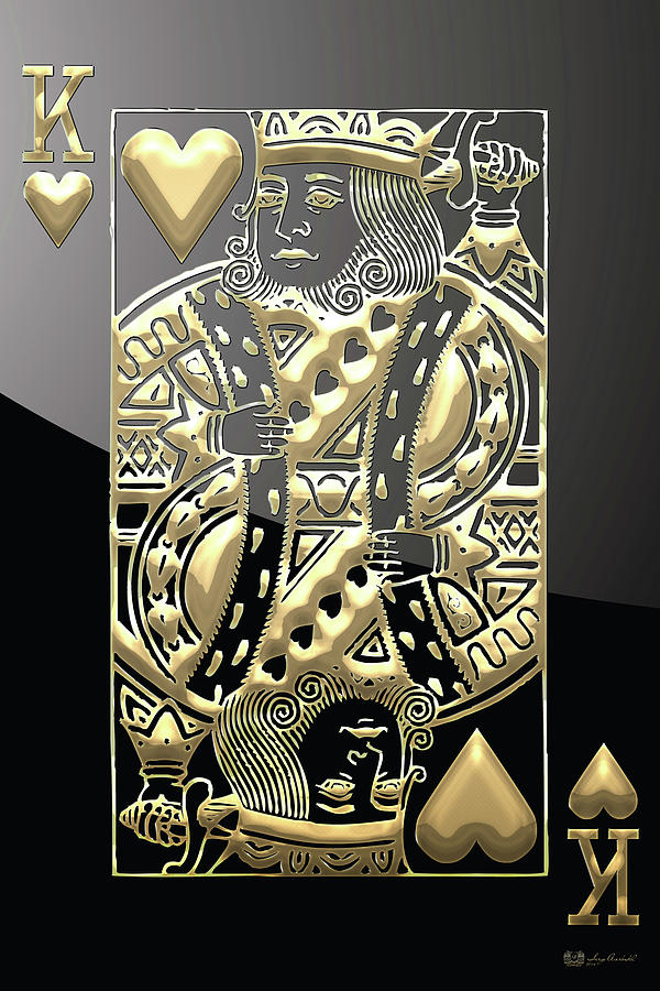 King Of Hearts In Gold On Black Digital Art By Serge Averbukh