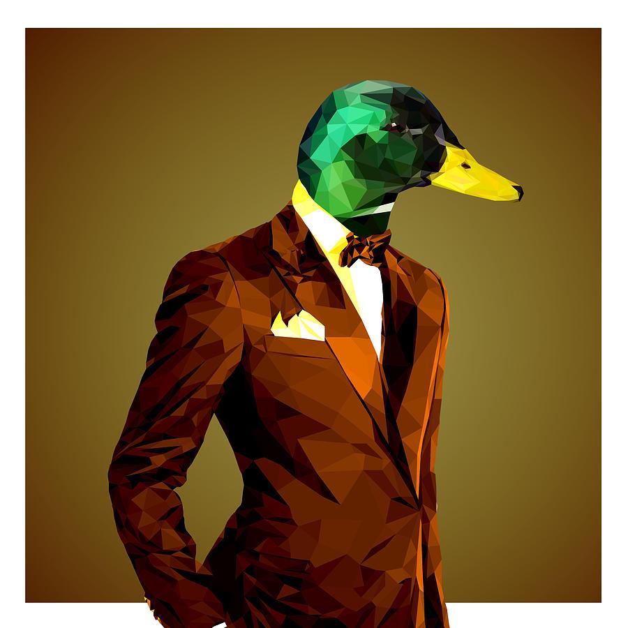 Mallard duck shower curtain - Mallard Digital Art Geometric Mallard Duck By Gallini Design