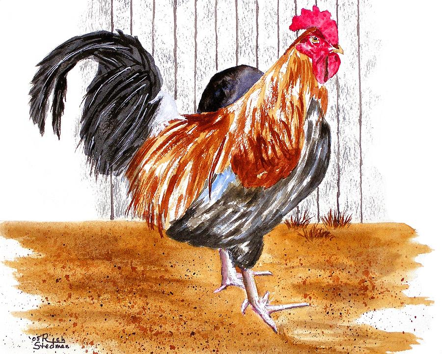 Rooster Painting - King Of The Barnyard by Rich Stedman