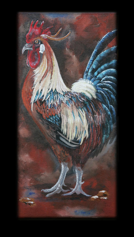 Rooster Painting - King Of The Barnyard by Robin Lee