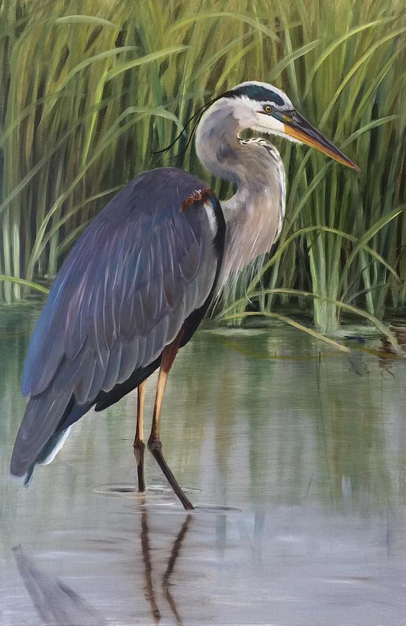 Marsh Painting - King Of The Marsh by Karen Langley