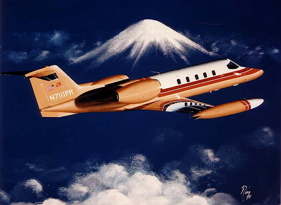 Learjet Painting - King of the Mountain by Peter Ring Sr