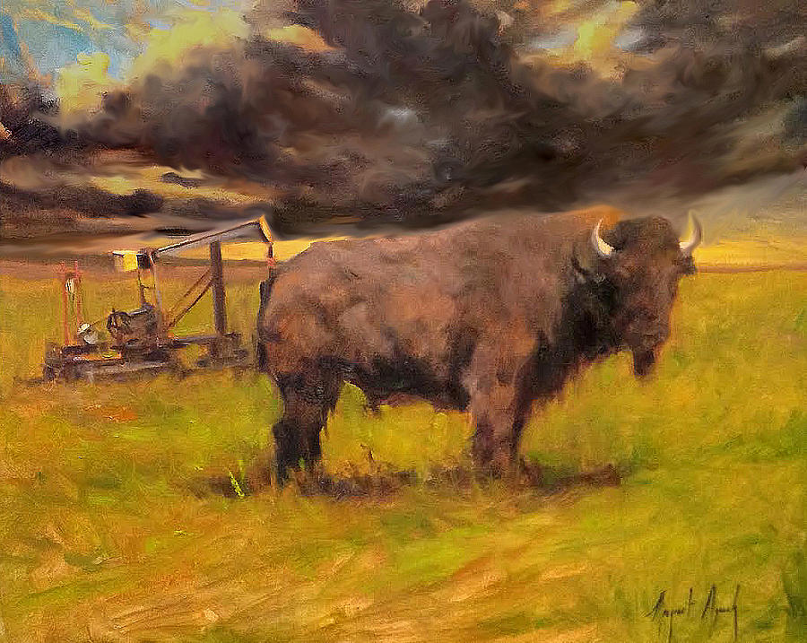 Bison Painting - King Of The Prairie by Margaret Aycock