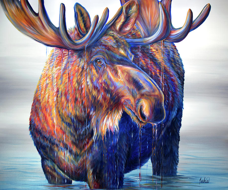 Moose Painting - King Of The Wasatch by Teshia Art