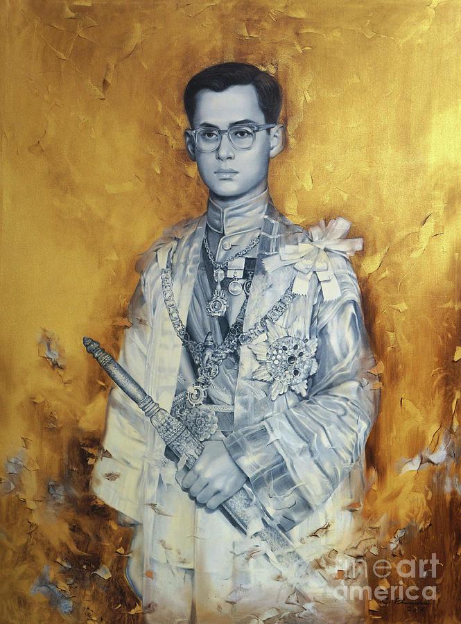King Painting - King Bhumibol by Chonkhet Phanwichien